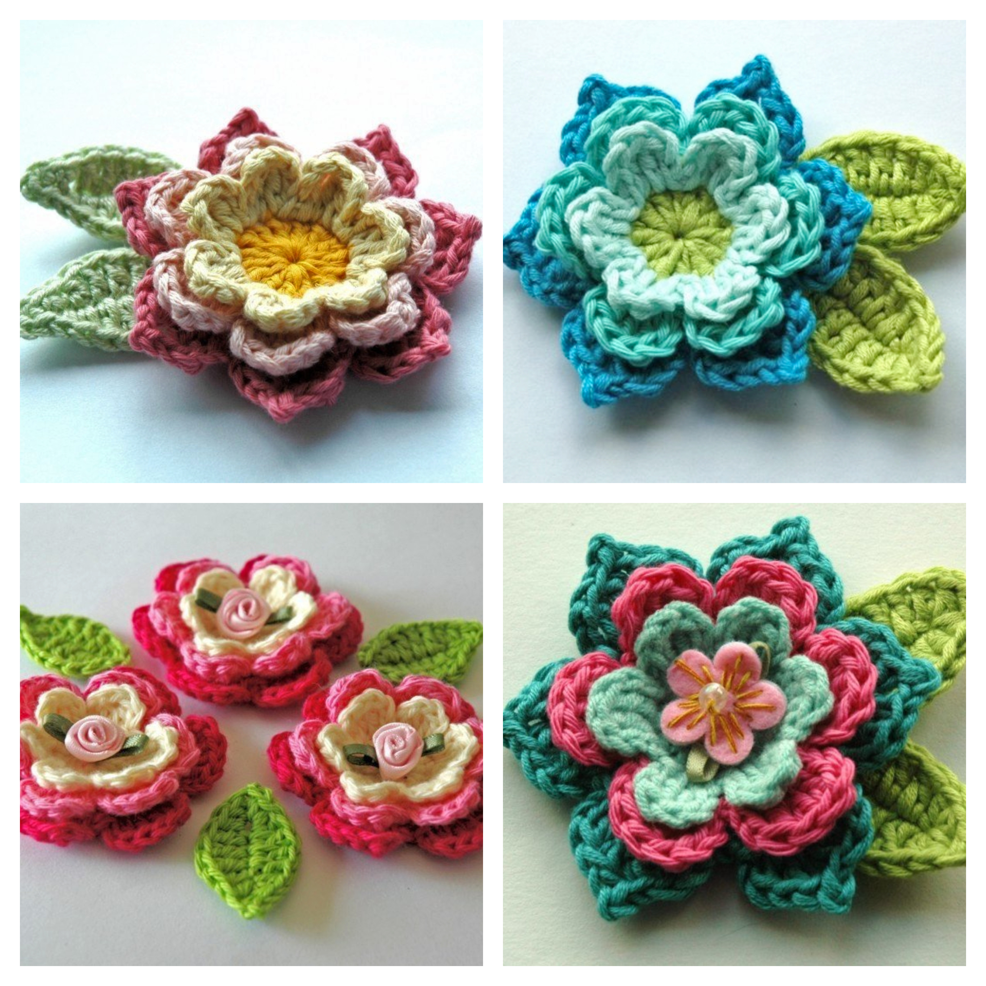 3 Inspirations of Easy Flower Crochet Pattern Blooming Crochet Flowers And Leaves Free Crochet Pattern Annie