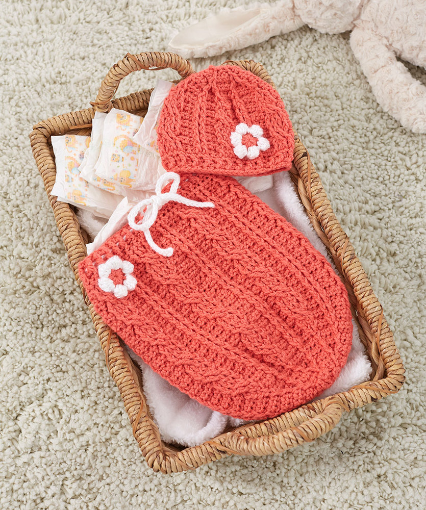 Crochet Cocoon Patterns For Newborns Just Peachie Cocoon Set Red Heart