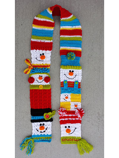 Crochet Pattern For Snowman Seasonal Crochet Patterns Snappy Sampler Snowman Scarf Crochet Pattern