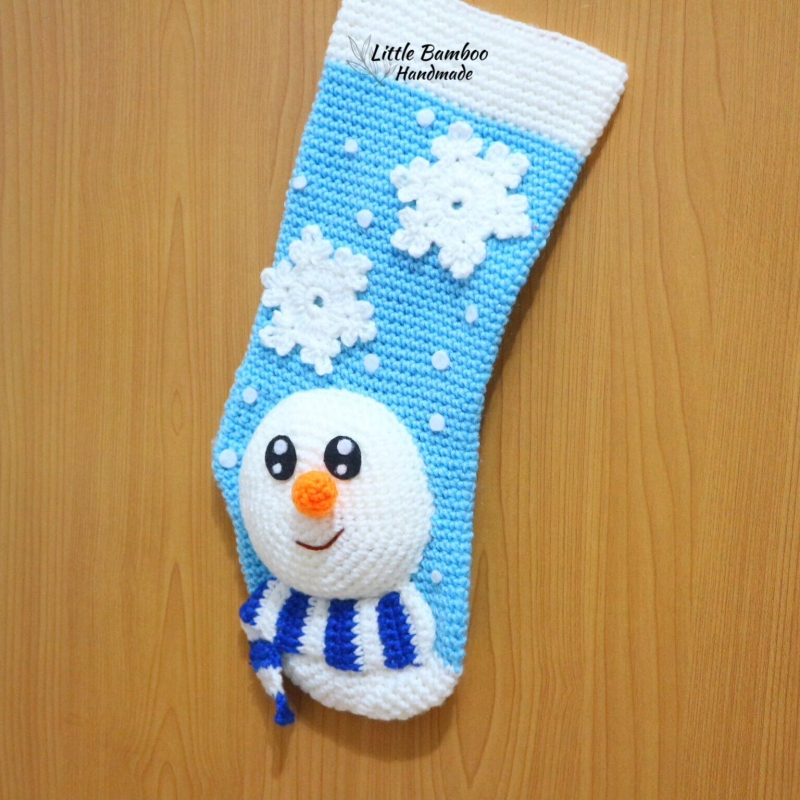 Crochet Pattern For Snowman Snowman Christmas Stocking Crochet Pattern Allcrochetpatterns