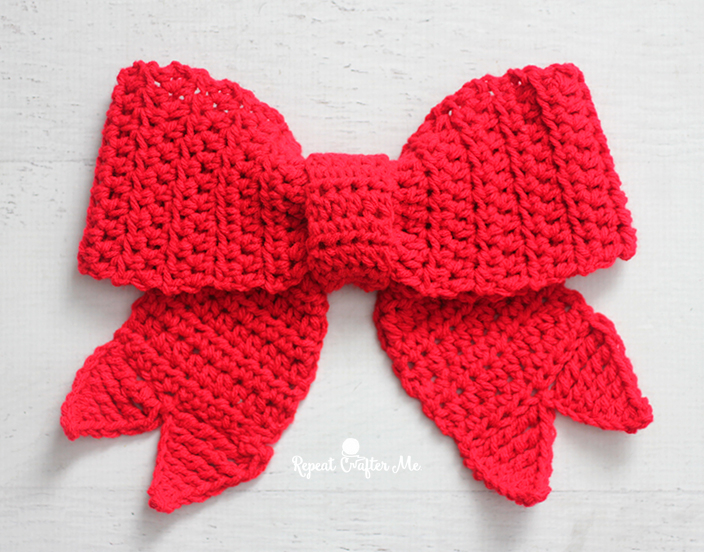 How To Make A Crochet Pattern Crochet Big Red Bow Repeat Crafter Me
