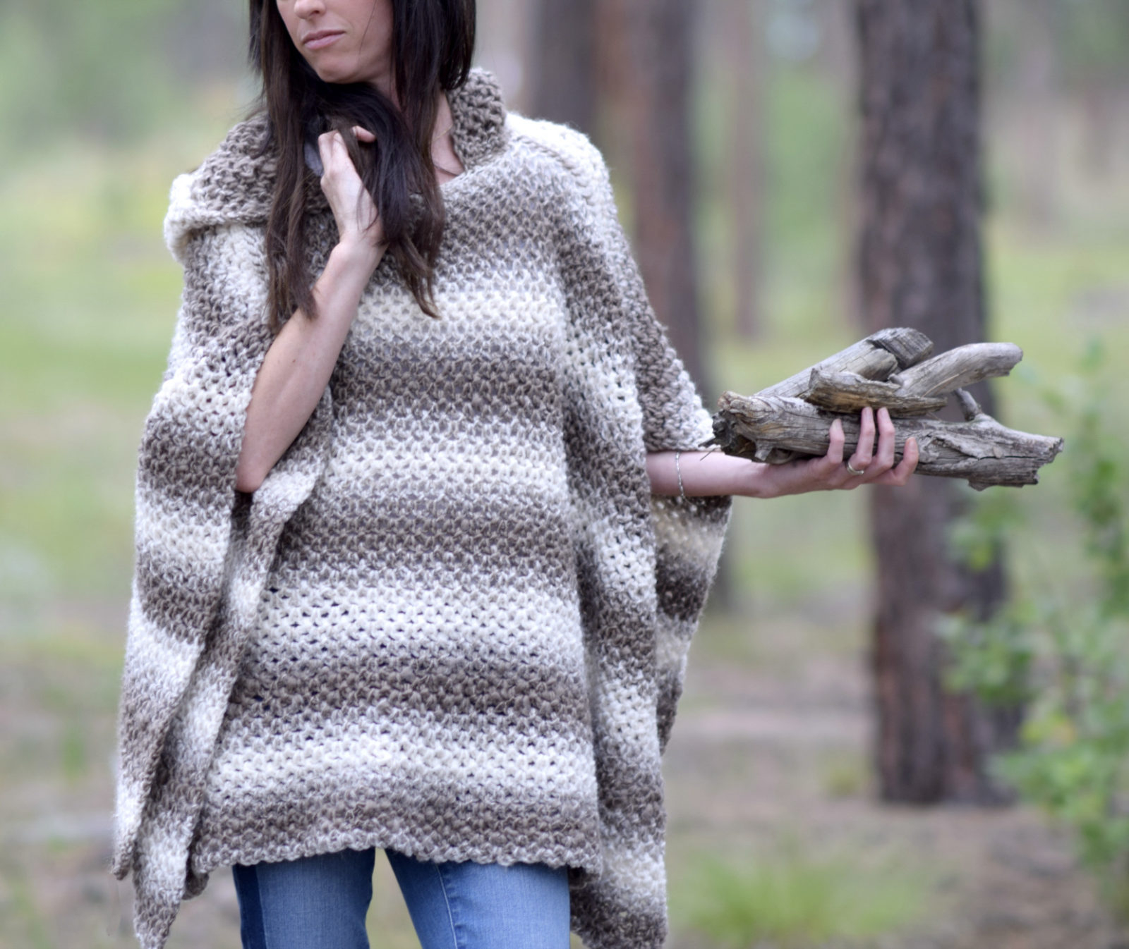 List of Free Crochet Patterns for Toddlers Ponchos Driftwood Oversized Crochet Hooded Poncho Pattern Mama In A Stitch