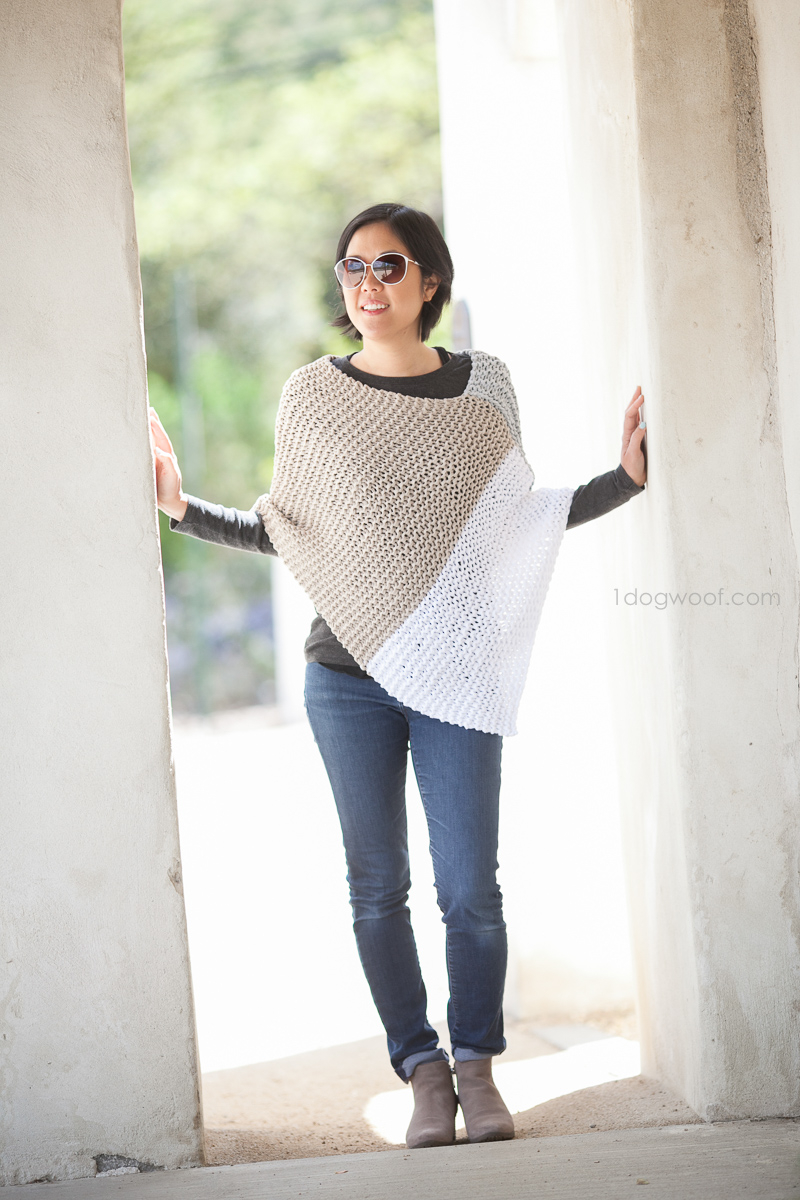 Simple Poncho Crochet Pattern Easy Knit Catalunya Colorblock Poncho One Dog Woof