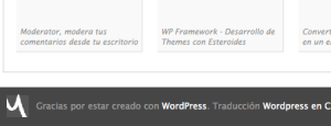 Pie de WordPress