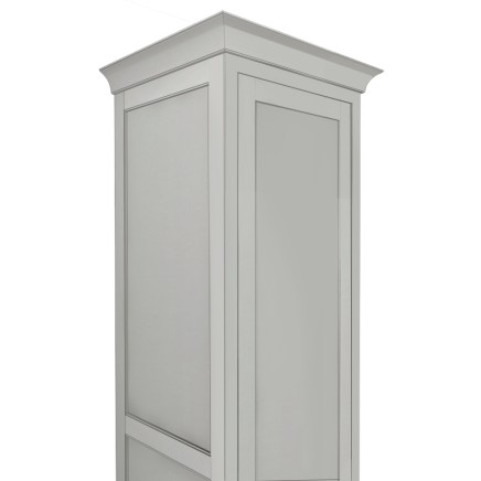 Wide Cove Crown Assembly - shown on inset linen cabinet