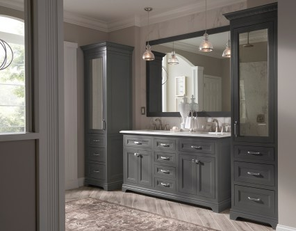 "Portico 66"" double sink vanity, 21"" wide linens, 66"" x 48"" frame for mirror."
