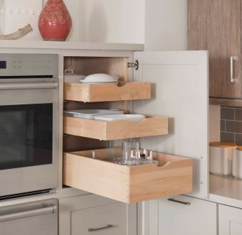 Demi-height with 2 deep drawers and 3 roll-out trays above.