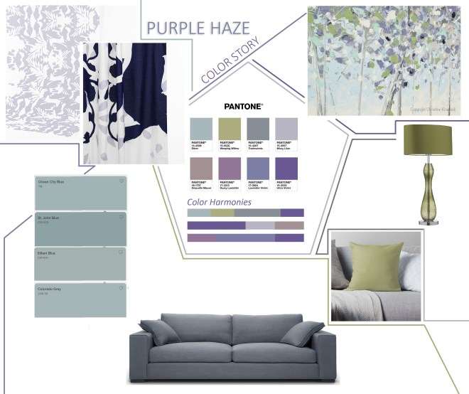 pantone color harmony purple haze collage