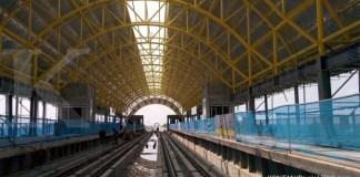 Proyek Stasiun LRT Palembang dari WSKT - kereta ringan light rail transit Jakabaring Palembang yang dikerjakan PT Waskita Karya Tbk WSK (26/10/2017). Kontan/Daniel Prabowo