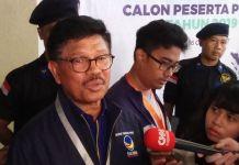 Sekretaris Jendral DPP Partai Nasdem Johnny G Plate menargetkan partainya dapat meraih double digit suara pada Pemilu 2019 mendatang. Jakarta, Jumat (13/10/2017).(KOMPAS.com/ MOH NADLIR )