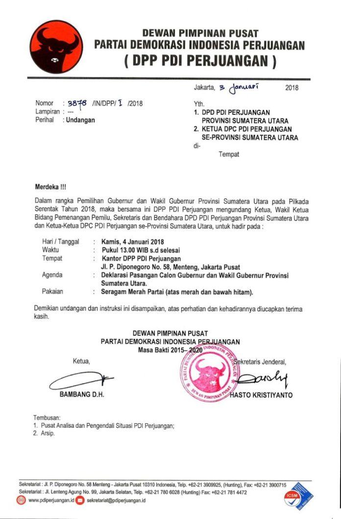 Surat DPP PDI Perjuangan