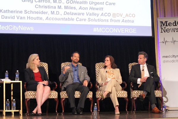 From left: Stephanie Baum of MedCity News, Christina Miles of Aon Hewitt, David Van Houtte of Aetna, Dr. Katherine Schneider of Delaware Valley ACO and Dr. Greg Carroll of GOHealth Urgent Care