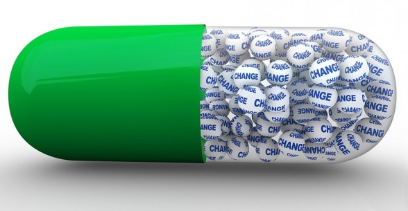Change Capsule Pill Filled with Word on Balls
