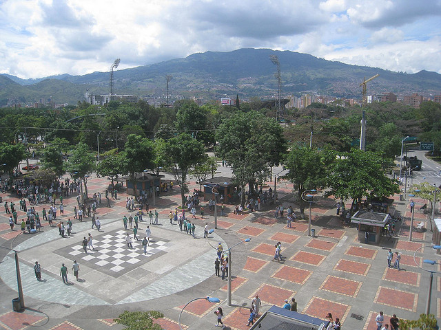 View toward the soccer stadium from the Estadio metro station