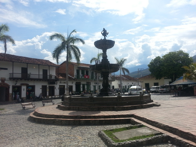 Fountain situated in the main plaza of Santa Fe de Antioquia
