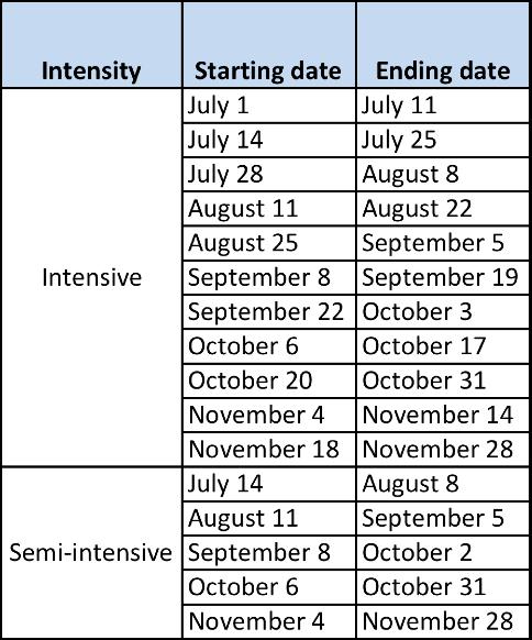 EAFIT's 2014 Spanish class schedule
