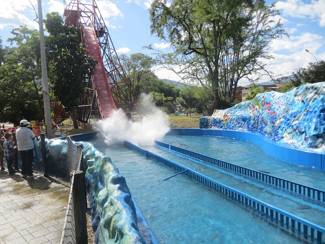 Getting wet on the water ride at Parque Norte