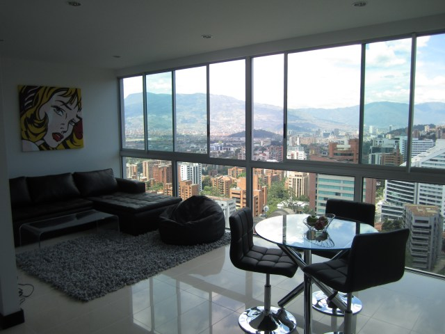 A typical furnished apartment living room