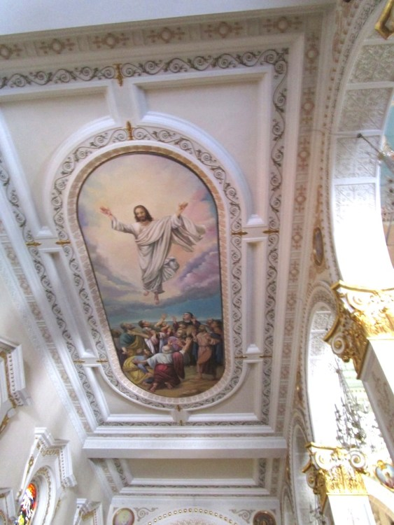 One of several murals on the ceiling of the church