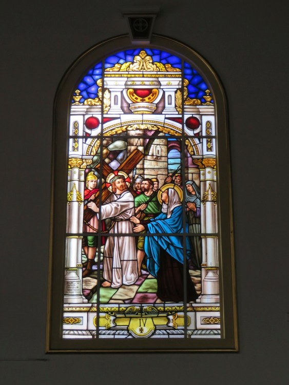One of the stained glass windows in Iglesia de Santa Ana