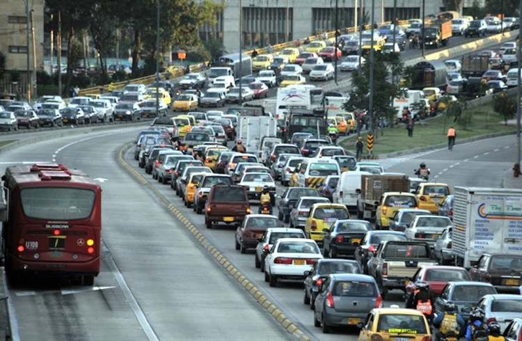 Traffic in Bogotá during rush hour