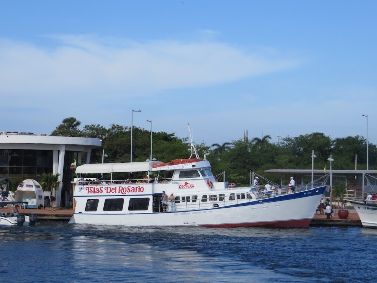 One of the tourist boats in Cartagena to nearby Rosario Islands