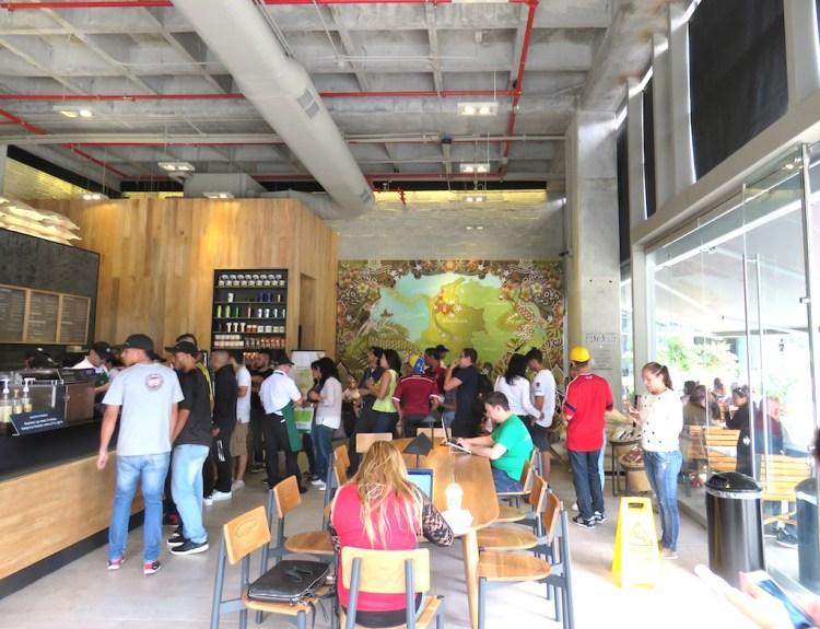 Inside the new Starbucks in Medellín