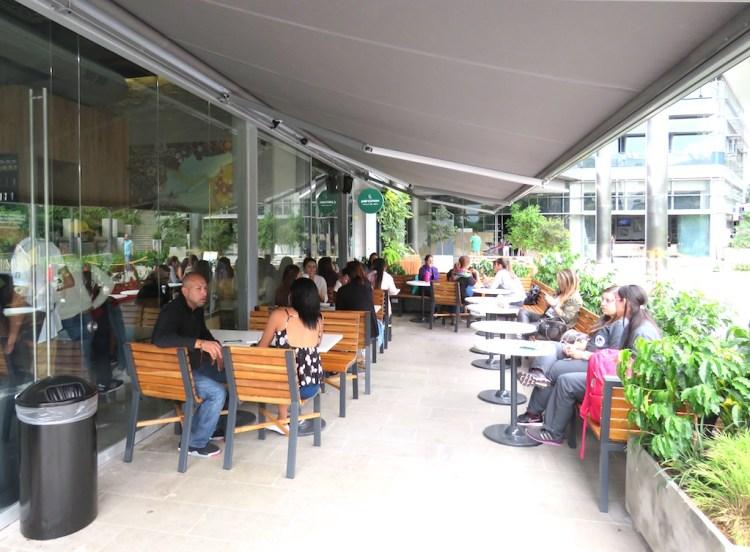 Outside tables at the new Starbucks in Medellín