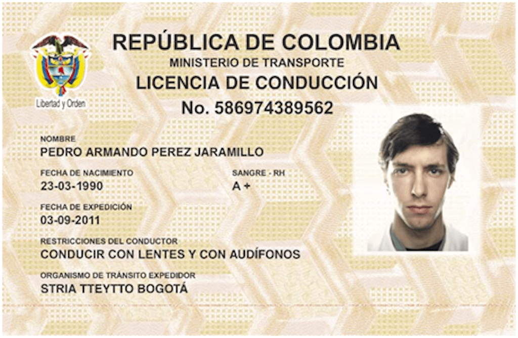 Colombia Drivers License