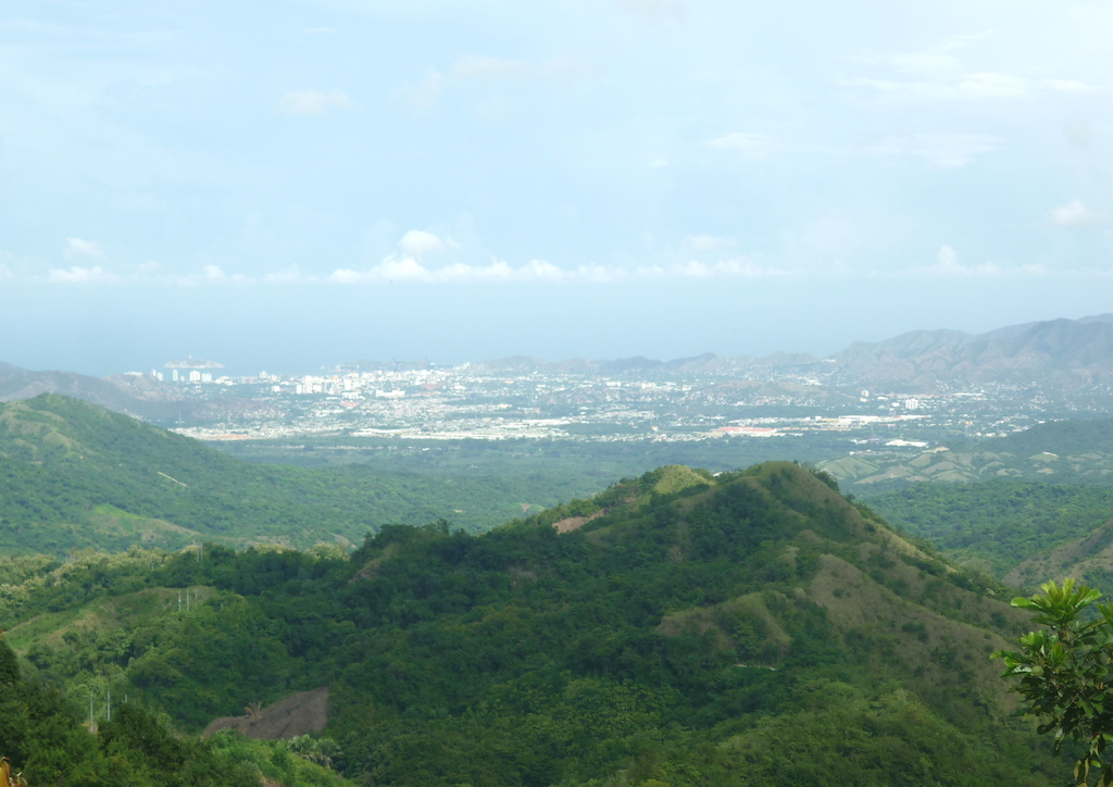 View of Santa Marta taken from the Sierra Nevada foothills