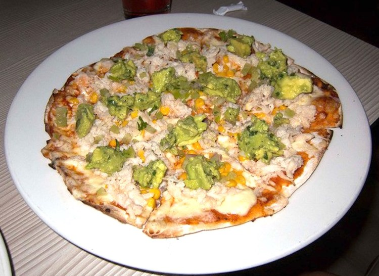 BBQ chicken pizza with cheese, avocado and corn, Dave's favorite