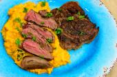 Saturday dinner. Sous vide scotch fillet steak and mashed sour cream and chives pumpkin.