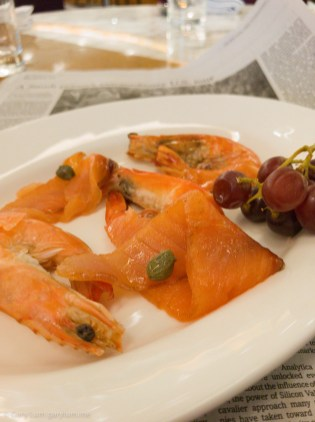Tuesday dinner. Buffet prawns and smoked salmon.