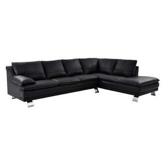Tesla Gray Leather Sofa WRight Chaise El Dorado Furniture