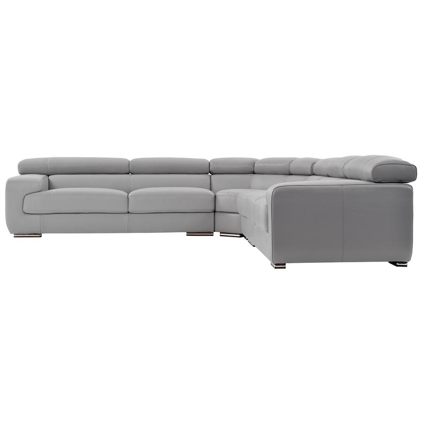 grace light gray leather sectional sofa