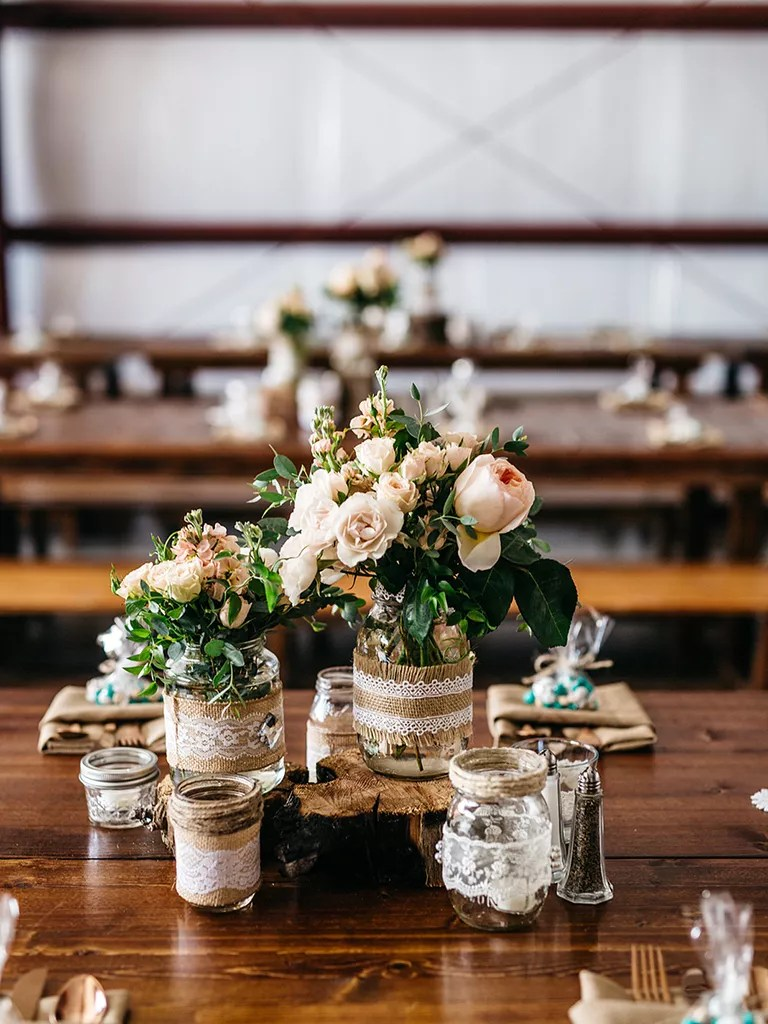 rustic table arrangements for weddings