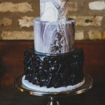 Luxe Black Marble Fondant Cake