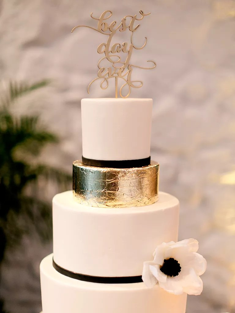 18 Glamorous Metallic Wedding Cakes Black and white wedding cake with an accented gold foil tier