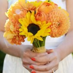 Sunflower Rose And Dahlia Bridal Bouquet