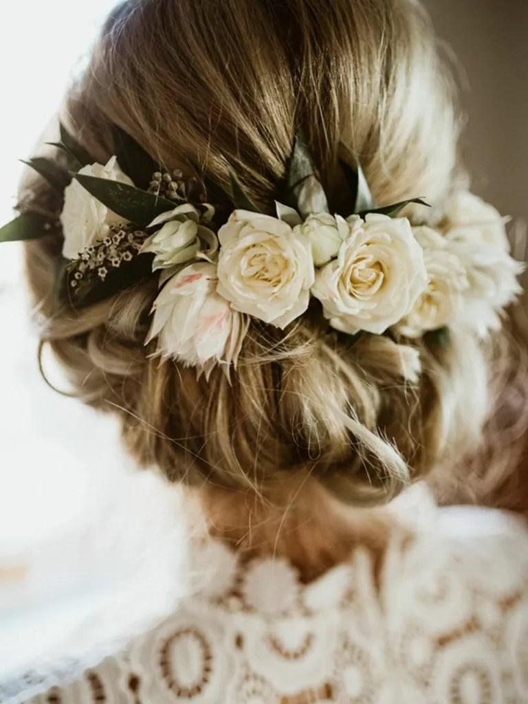wedding hairstyle low updo with flower crown
