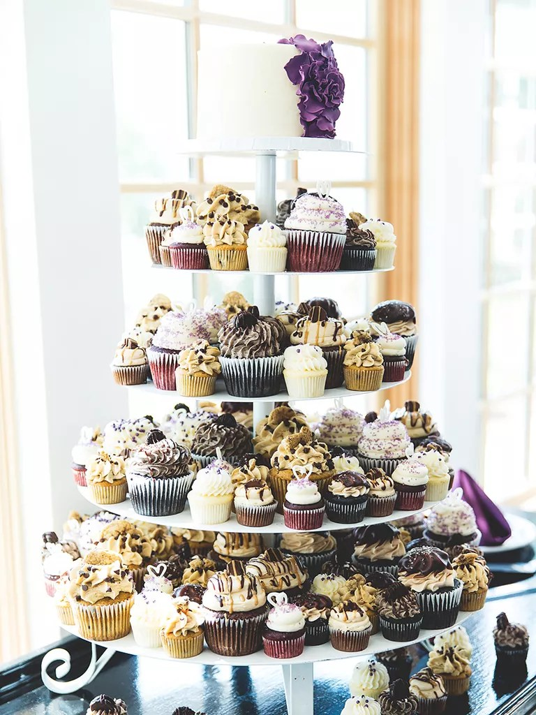 16 Wedding Cake Ideas With Cupcakes Small Wedding Cake With Small  Medium and Large Cupcakes
