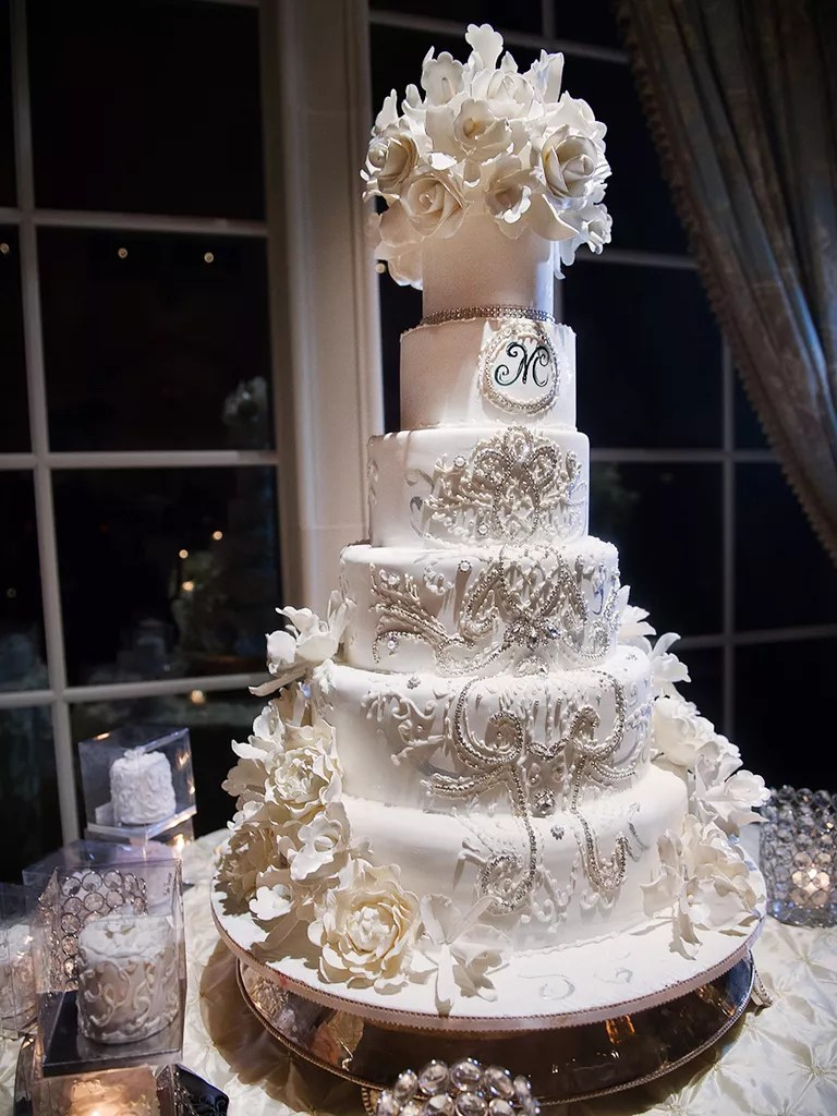 18 Wedding Cakes With Bling That Steal the Show White Wedding Cake With an Ornate Crystal Design