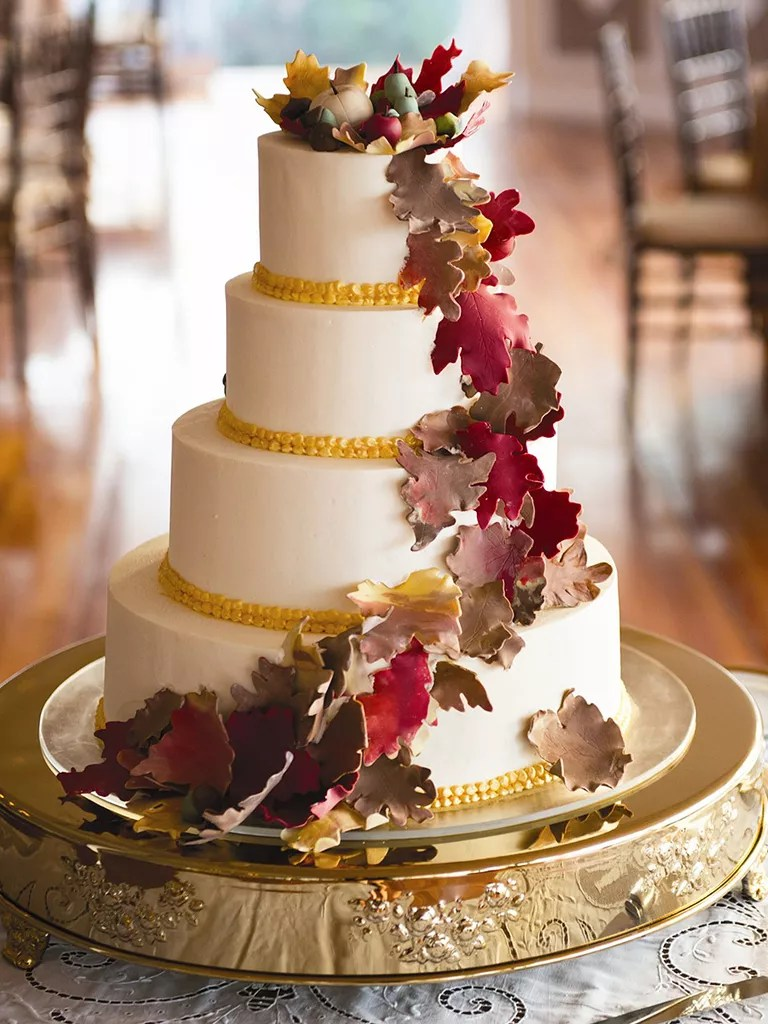 17 Gorgeous Fall Wedding Cakes Fall wedding cake with fondant leaves