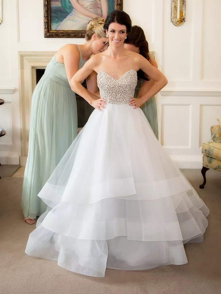 princess wedding gown with crystal adorned corsett top by hayley paige