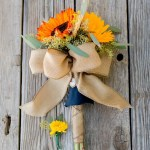 Orange And Yellow Sunflower Bridal Bouquets