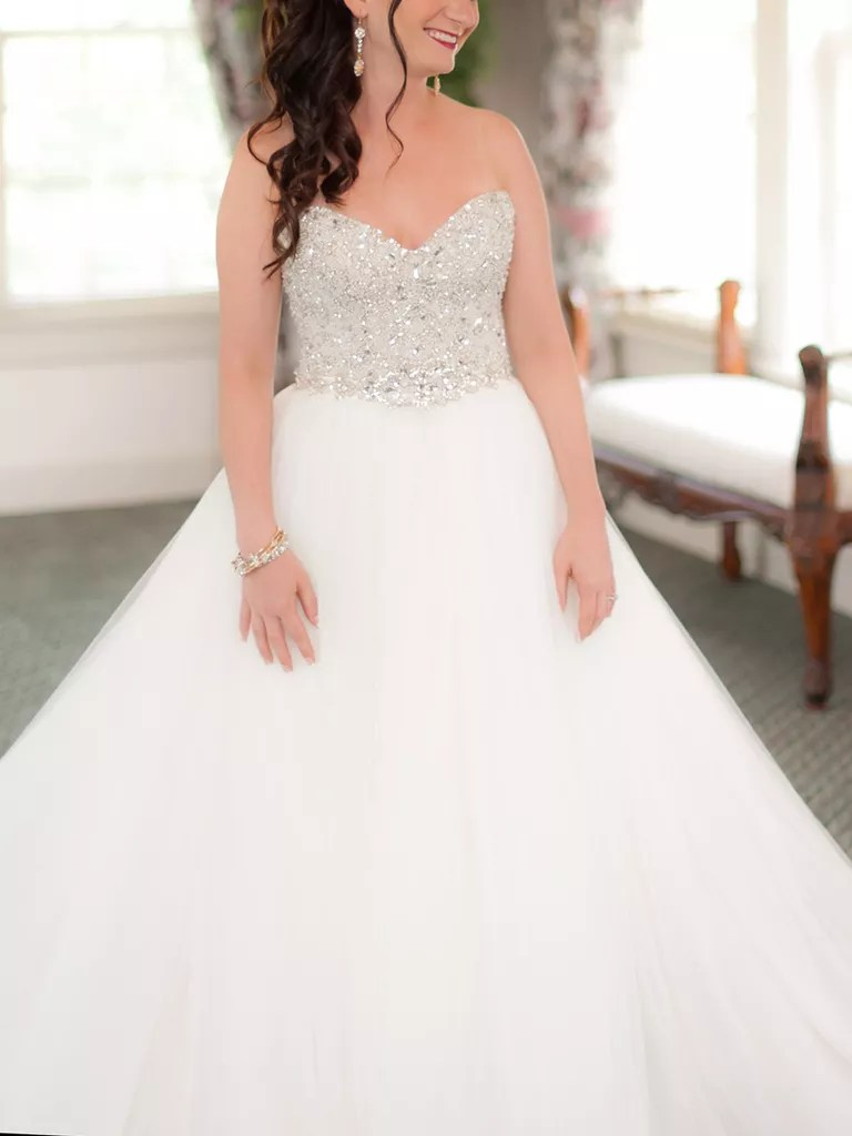 swarovski crystal covered bodice wedding gown by maggie sottero