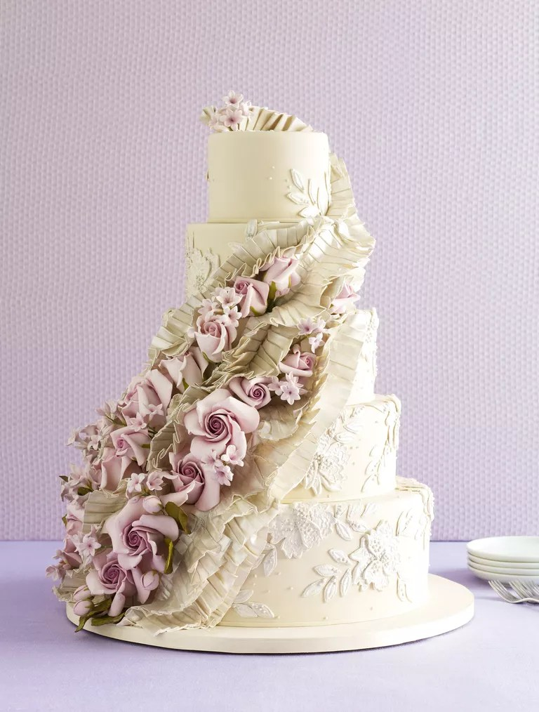 The 25 Prettiest Wedding Cakes We ve Ever Seen Ron Ben Israel ruffles and rose wedding cake