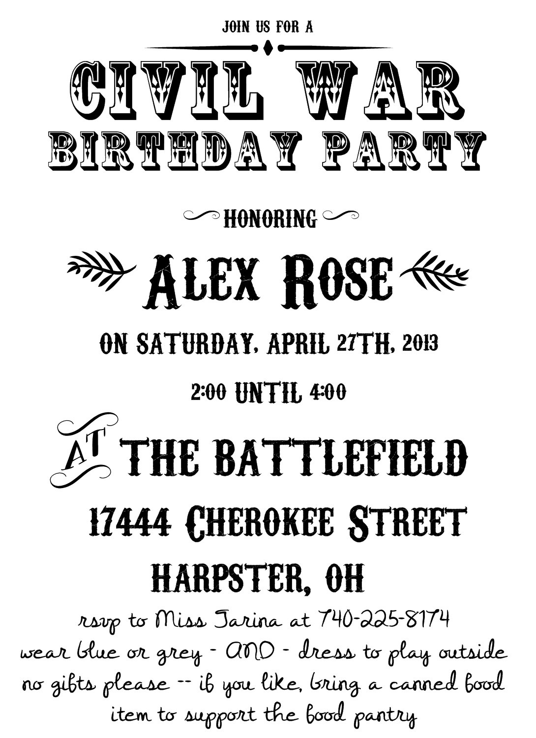 Images About Civil War Birthday Party