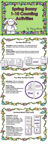 This math center comes with 6 different activities to give your students plenty of practice counting, matching and identifying numerals, ten frames, number words and tally marks from 1-10. Download preview to view instructions and all the ways you can use these counting activities. Activities are can easily be differentiated by adding cards or purposely leaving cards out.