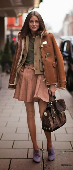 Fall Outfit With Skirt and Double Coat